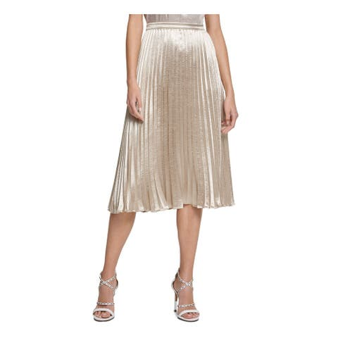 DKNY Womens Gold Below The Knee Knife Pleated Party Skirt Size 16
