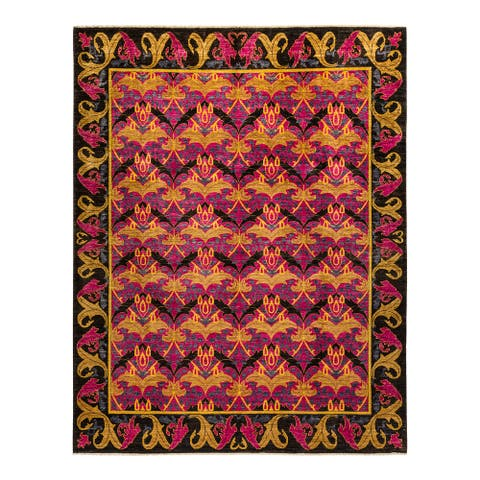 """Arts & Crafts, One-of-a-Kind Hand-Knotted Area Rug - Pink, 8' 2"""" x 10' 3"""" - 8' 2"""" x 10' 3"""""""
