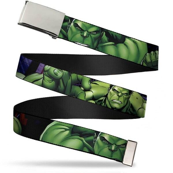 "Marvel Comics Blank Chrome 1.0"" Buckle Marvel Avengers Hulk Close Up Poses Web Belt 1.0"" Wide - S"