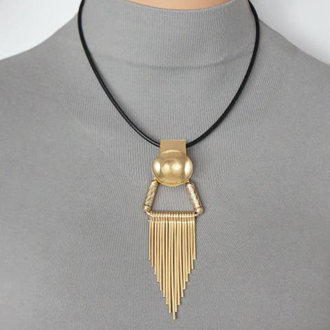 Handmade Gold Colored Wire Drop Pendant Black Leather Necklace