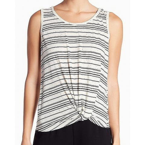 Max Studio White Knotted Race Striped Women Large L Knit Top Tank