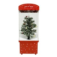 "16.25"" Lighted Musical ""Let it Snow"" Christmas Tree Snow Globe Glitterdome - green"