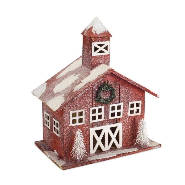 "Shop 17.5"" Snow Covered Red Christmas Table Top Barns - Free Shipping Today - Overstock - 21954538"