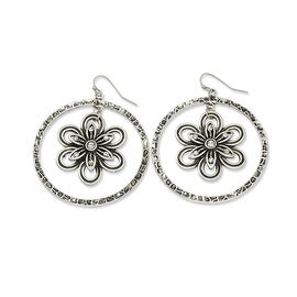 Silvertone Flower Dangle Earrings