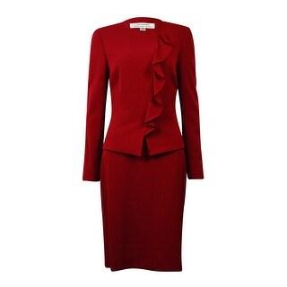 Tahari Women's NYC Glamour Ruffled Skirt Suit (16P, Merlot Red) - 16p