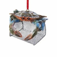 Pack of 6 Blue and Green Crab on Wire Cage Decorative Hanging Ornaments 3""