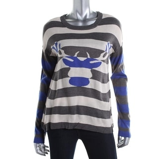 Oh MG! Womens Juniors Deer Pullover Sweater Striped Crew Neck