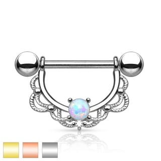Opal Center Filigree Drop Surgical Steel Nipple Ring (Sold Ind.)