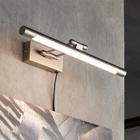 Gracili 8W LED Picture Light, Plug-in/Hardwire, 3000K Warm White, Satin Nickel Finish