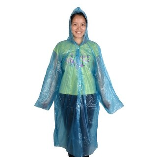 Travel Hiking Plastic Cover Water Resistant Dustproof Disposable Raincoat Blue