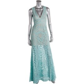BCBG Max Azria Womens Maranda Mesh Inset Sleeveless Evening Dress - 2