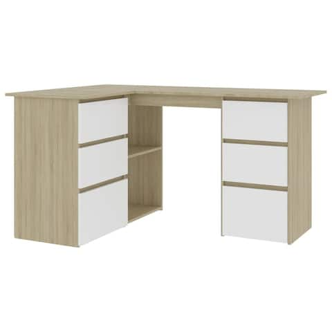 "vidaXL Corner Desk White and Sonoma Oak 57.1""x39.4""x29.9"" Chipboard"