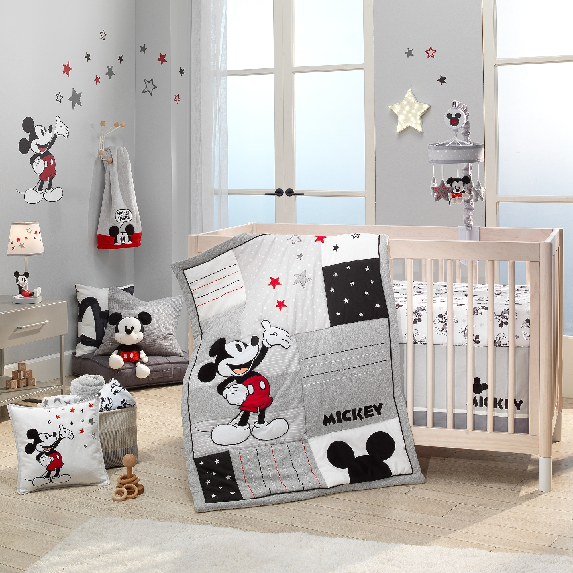 Lambs Ivy Disney Baby Magical Mickey Mouse 3 Piece Crib Bedding Set Gray Overstock 30823159