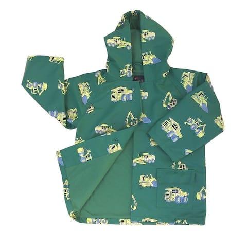 Little Boys Green Construction Rain Coat 2T-6