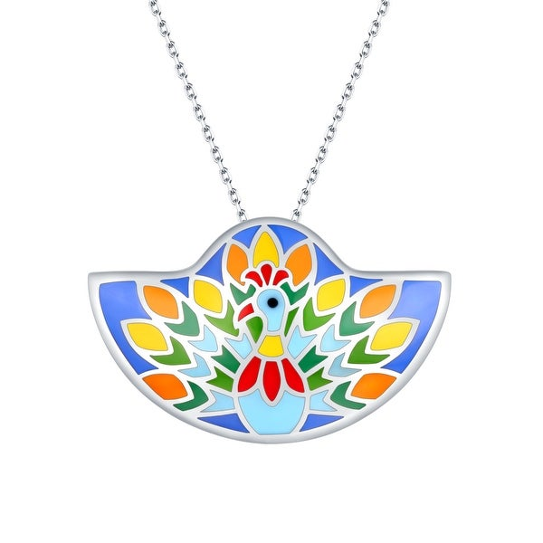 Vedantti Madhubani Art Peacock Dance Multi Color Enamel Necklace