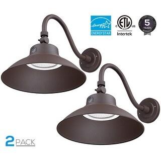 42W LED Gooseneck Barn Light, Photocell Included, Brown, Pack of 2
