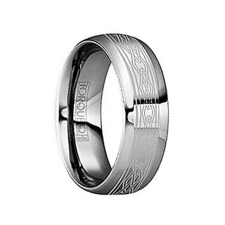 FLORIANUS Tungsten Wedding Ring with Engraved Celtic Design & Polished Finish by Crown Ring