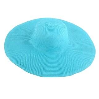 Lady Travel Wide Brim Straw Braided Summer Beach Sun Bucket Hat Sunhat Sky Blue