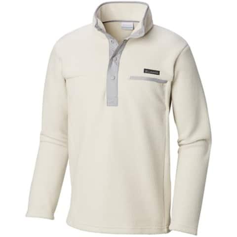 Columbia Men Sweater White Ivory Size XL 1/2 Zip Rugged Ridge Half Snap