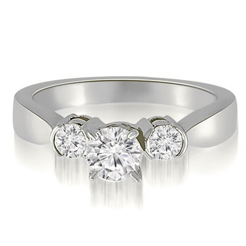 1.25 cttw. 14K White Gold Half-Bezel Three-Stone Round Diamond Engagement Ring