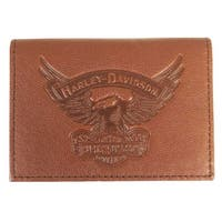 "Harley-Davidson Men's Eagle Embossed Leather Guesseted Card Case EE9089L-SCOTCH - 4.25"" x 3"" x 0.5"""