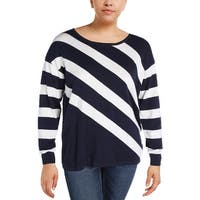 Foxcroft Womens Pullover Top Striped Crew