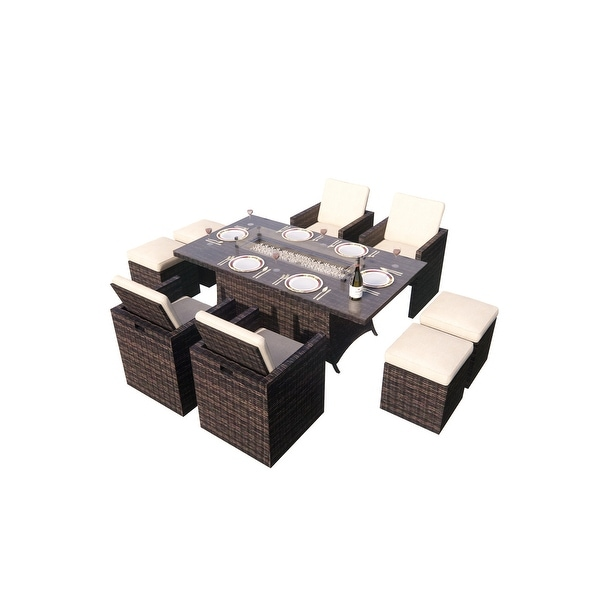 Shop 9-Piece Outdoor Rectangle Gas Fire Table Patio Wicker ... on Safavieh Outdoor Living Horus Dining Set id=78586