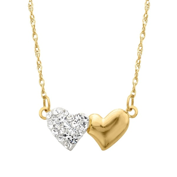 Crystaluxe Double Heart Necklace with Swarovski Crystals in 14K Gold