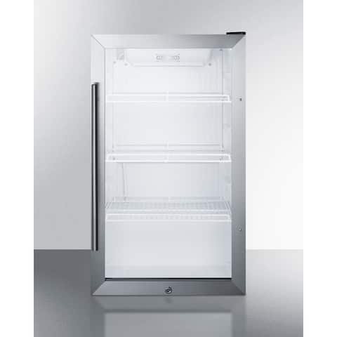 "Summit SCR489OS 19"" Wide 3.1 Cu. Ft. Compact Refrigerator - Stainless Steel / Clear Glass Door"