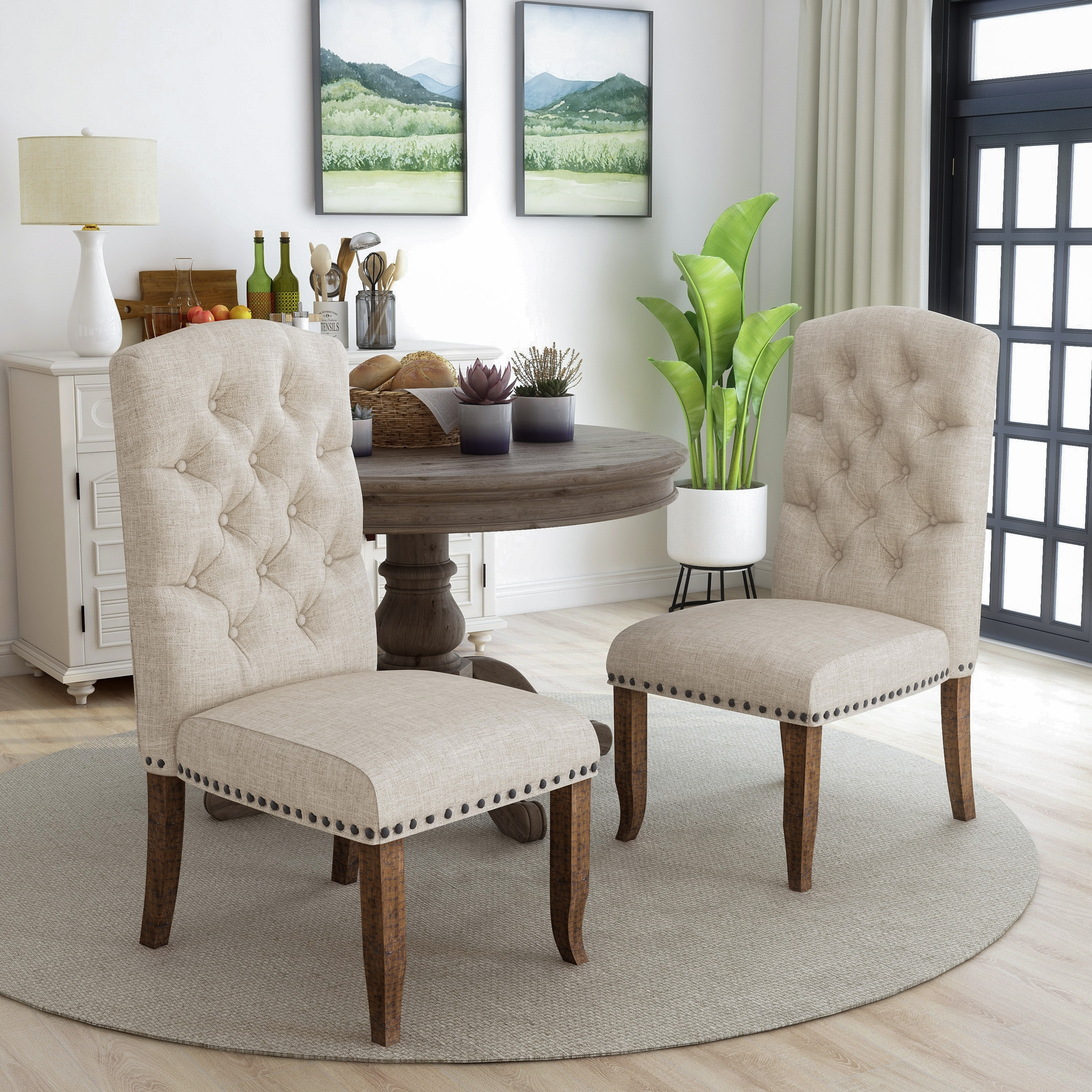 Furniture Of America Tufted Upholstered Dining Chairs Set Of 2 Overstock 20234596