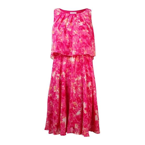 420ec140b Shop Calvin Klein Women's Chain-Belt Popover Printed Chiffon Dress - Coral  Multi - On Sale - Free Shipping Today - Overstock - 15017188 - 6