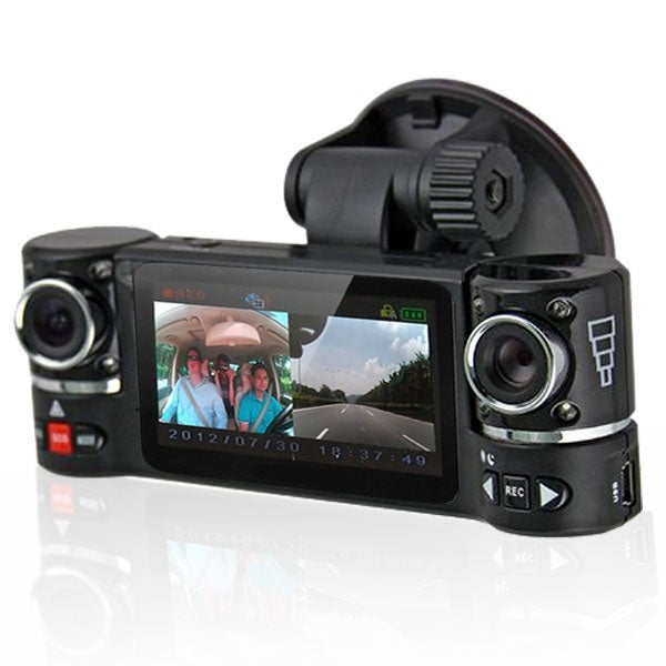 "Indigi® F600 Car DVR DashCam w/ Dual Rotating Cameras (Front+Rear) G-Sensor Driving Recorder with 2.7"" LCD w/ IR Night Sensor"