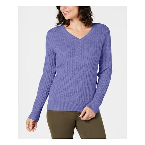 KAREN SCOTT Womens Purple Long Sleeve V Neck Sweater Size S