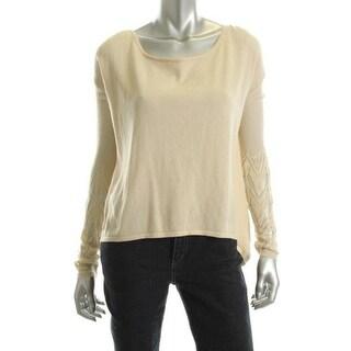Catherine Malandrino Womens Pointelle Boatneck Pullover Sweater - S