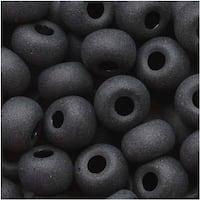Czech Seed Beads 6/0 Jet Black Matte Finish (1 Ounce)