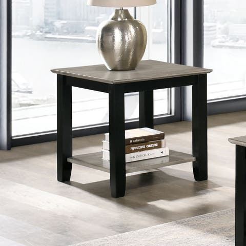 Furniture of America Rya Transitional Grey and Black End Table