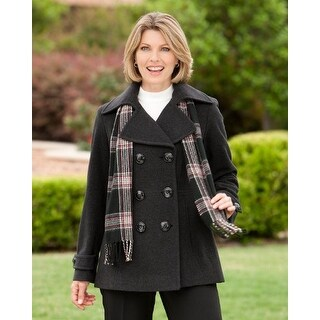 London Fog Double-Breasted Peacoat With Scarf Charcoal 2-Extra Large
