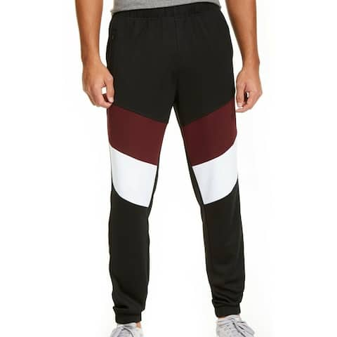 Ideology Mens Track Pants Black Burgundy 3XL Spliced Colorblock Jogger