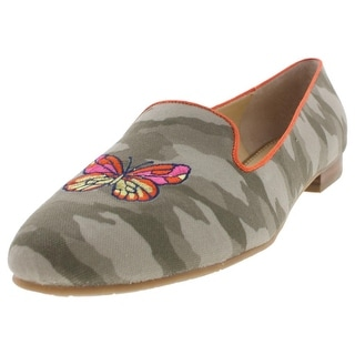 C Wonder Womens Brittany Smoking Loafers Camouflage Embroidered - 10.5 medium (b,m)