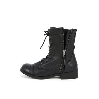 Bamboo Women's Dacia-01 Combat Boots Military Stlye Lace Up - Chestnut