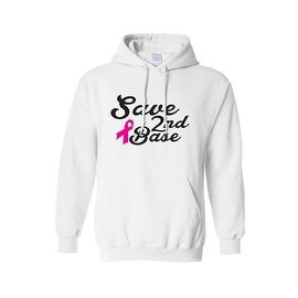 """Unisex Pullover Hoodie """"SAVE 2ND BASE""""BREAST CANCER AWARENESS:"""