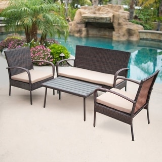 BELLEZE 4-PC Outdoor Patio Furniture Wicker Set Seat Cushion Coffee Table UV & Water Resistant Backyard, Brown