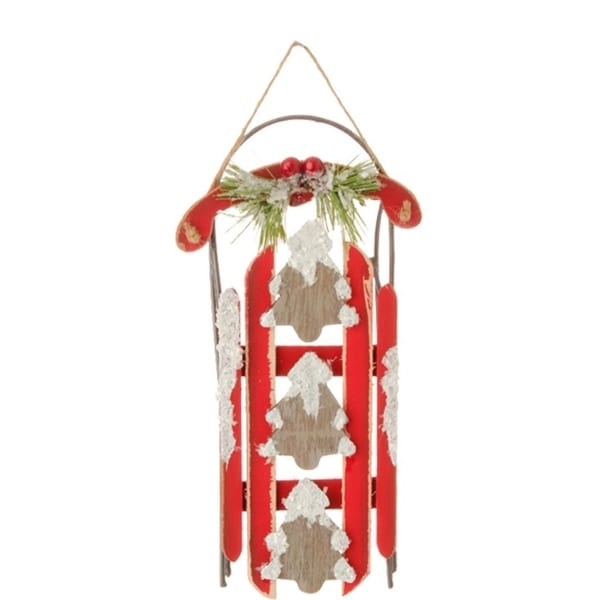 """7.25"""" Country Cabin Rustic Red Sled with Christmas Trees and Flocked Holly Christmas Ornament"""