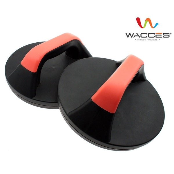 Wacces Push Up Stand Bar Set Workout Exercise Black Plastic Rotating