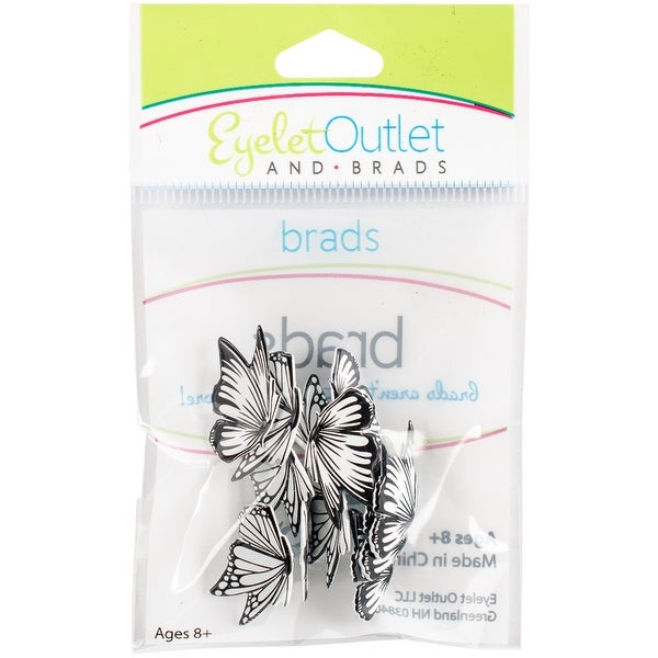 Eyelet Outlet Shape Brads 12/Pkg-Coloring Book Butterflies