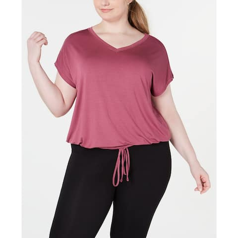 Ideology Plus Size Women's Drawstring-Hem Top, Hawthorn Rose, 2X