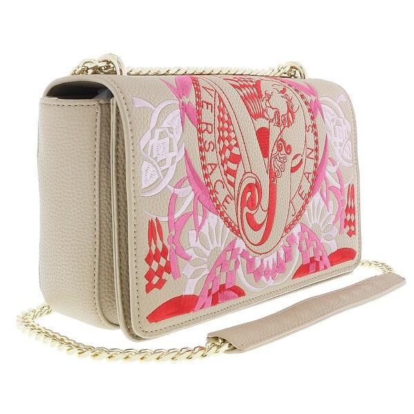 Shop Versace Ee1vrbbr7 Light Brown Shoulder Bag With Silk