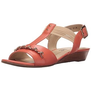 Rose Petals by Walking Cradles Womens Jasmine Leather T-Strap Wedge Sandals