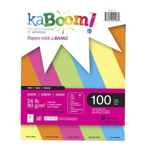 Kaboom Dynamite Copy Paper, 8-1/2 x 11 Inches, Assorted Neon, 100 Sheets