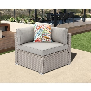 Link to COSIEST Patio Sectional Right Corner Side Wicker Armchair With Pillow Similar Items in Outdoor Sofas, Chairs & Sectionals